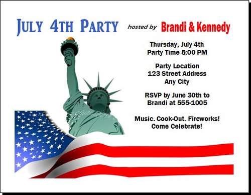 Lady Liberty 4th of July Party Invitation