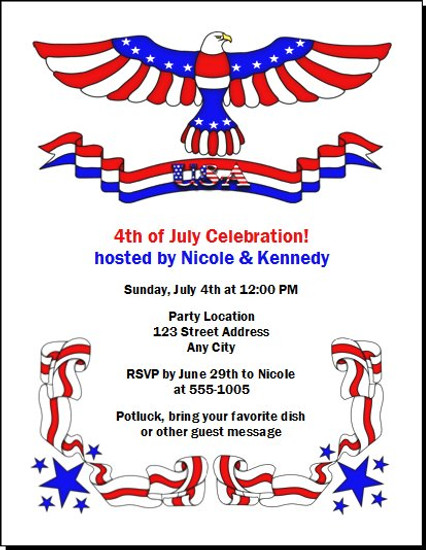 Patriotic 4th of July Party Invitation