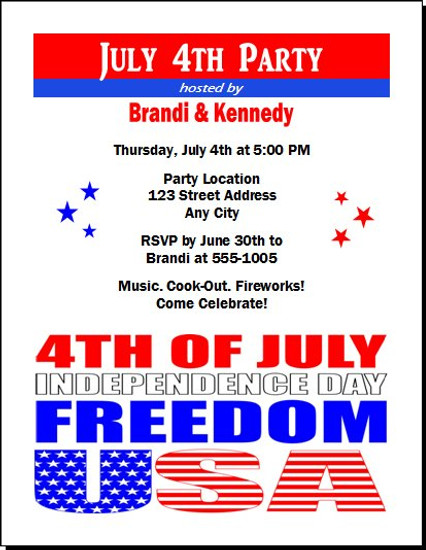 Red White Blue Freedom Party Invitation
