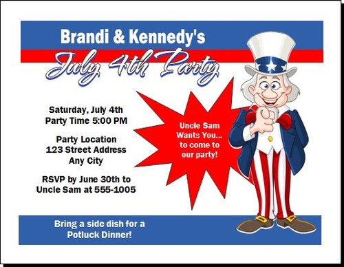 Uncle Sam 4th of July Party Invitation