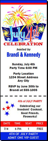 4th of July Celebration Ticket Invitation