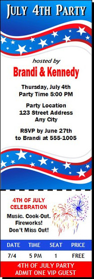 4th of July Party Ticket Invitation