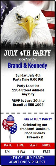 American Eagle 4th of July Party Ticket Invitation