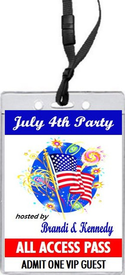 American Flag 4th of July Party VIP Pass Invitation Front