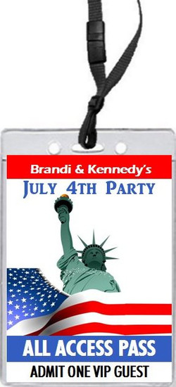 Lady Liberty 4th of July Party VIP Pass Invitation Front