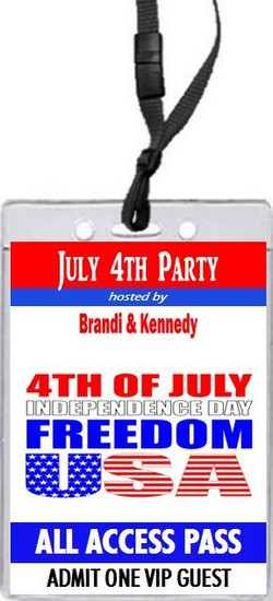 Red White Blue Freedom 4th of July Party VIP Pass Invitation Front
