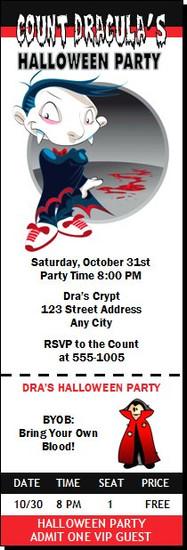 Vampire Cartoon Halloween Party Ticket Invitation
