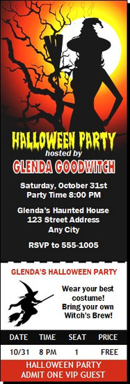 Witch Tree Halloween Party Ticket Invitation