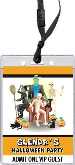 Costume Party Halloween VIP Pass Invitation Front