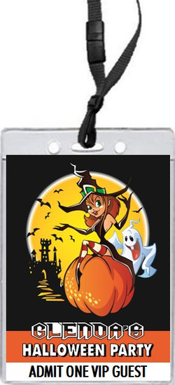 Witch Halloween Party VIP Pass Invitation Front