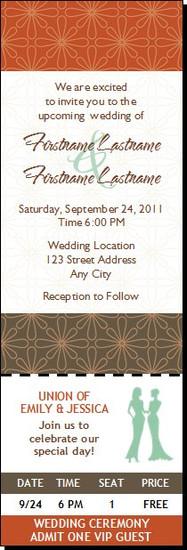 Autumn Retro Flower Lesbian Wedding Ticket Invitation Femme-Femme