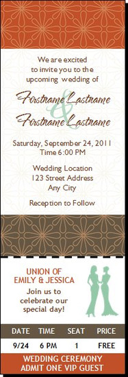 Autumn Retro Flower Lesbian Wedding Ticket Invitation Femme-Femme