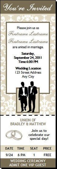 Bone Class Act Gay Wedding Ticket Invitation