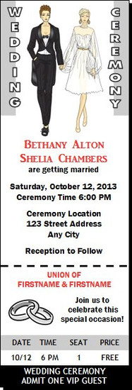 Butch-Femme Couple Lesbian Wedding Ticket Invitation