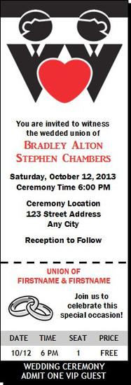 Groom & Groom Gay Wedding Ticket Invitation