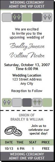 Seafoam Gray Squares Gay Wedding Ticket Invitation