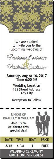 Shabby Khaki Print Gay Wedding Ticket Invitation