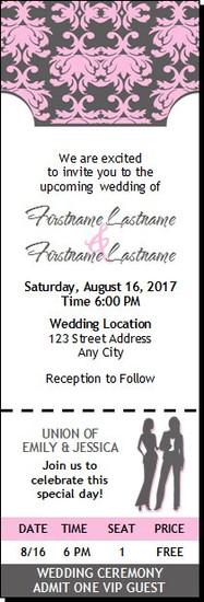 Shabby Pink Print Lesbian Wedding Ticket Invitation Butch-Femme
