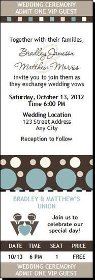 Shapes Blue Gay Wedding Ticket Invitation