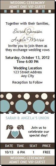 Shapes Blue Lesbian Wedding Ticket Invitation