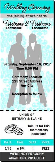 Tiffany Blue Damask Lesbian Wedding Ticket Invitation Butch-Butch