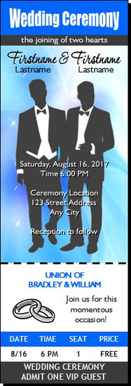 Wedding Gay Blue Ticket Invitation