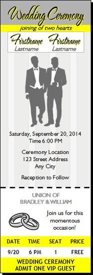 Yellow Gray Gay Wedding Ticket Invitation