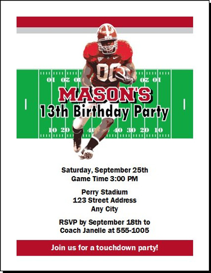 Alabama Crimson Tide Colored Football Birthday Party Invitation