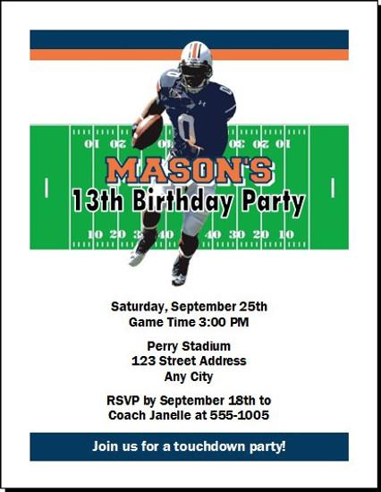 Auburn Tigers Colored Football Birthday Party Invitation