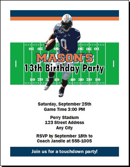 Auburn Tigers Colored Football Birthday Party Invitation