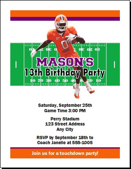 Clemson Tigers Colored Football Birthday Party Invitation