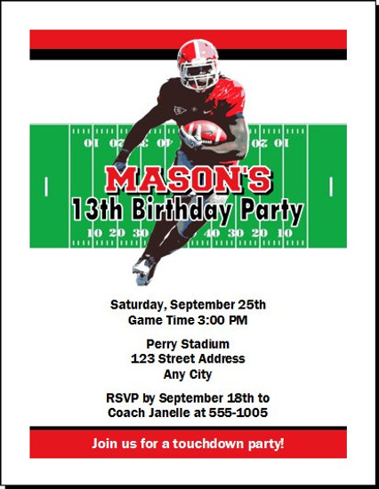 Georgia Bulldogs Colored Football Birthday Party Invitation