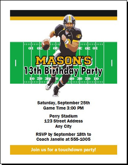 Missouri Tigers Colored Football Birthday Party Invitation
