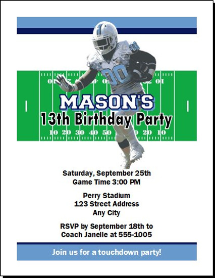 North Carolina Tar Heels Colored Football Birthday Party Invitation