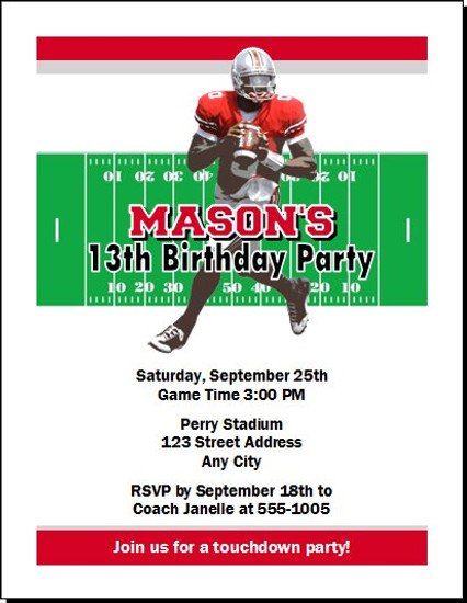 Ohio State Buckeyes Colored Football Birthday Party Invitation