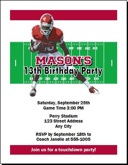 Oklahoma Sooners Colored Football Birthday Party Invitation