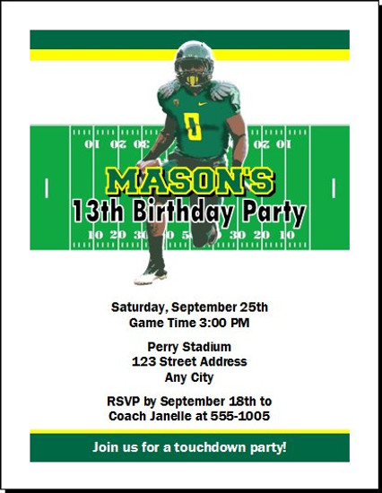 Oregon Ducks Colored Football Birthday Party Invitation