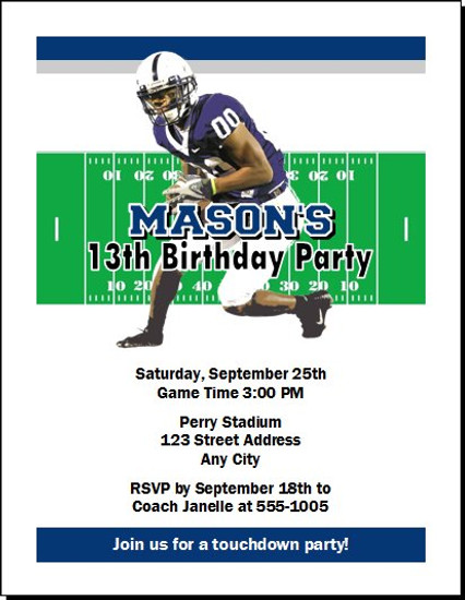 Penn State Nittany Lions Colored Football Birthday Party Invitation