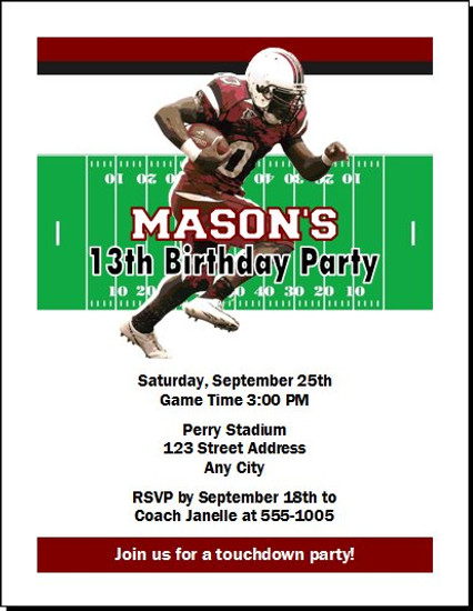 South Carolina Gamecocks Colored Football Birthday Party Invitation