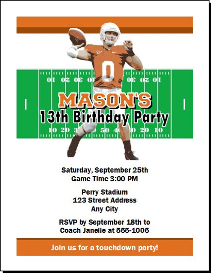Texas Longhorns Colored Football Birthday Party Invitation