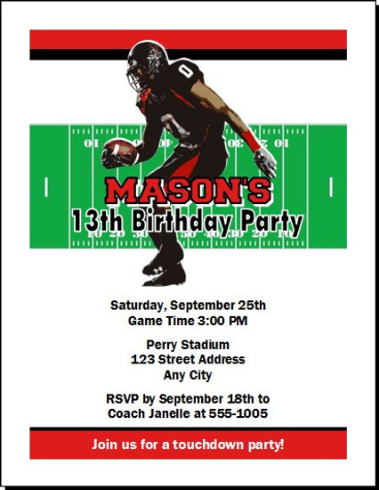 Texas Tech Red Raiders Colored Football Birthday Party Invitation