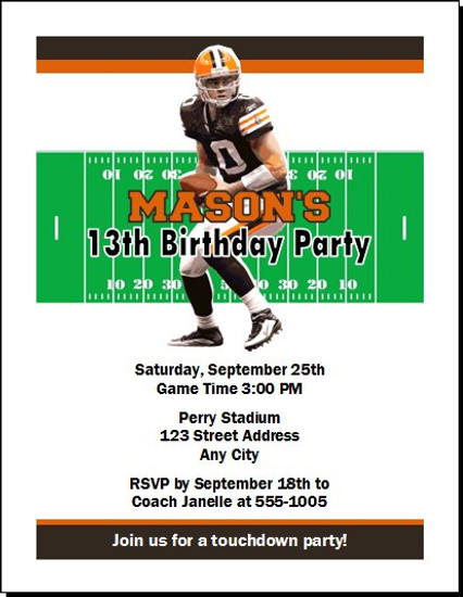 Cleveland Browns Colored Football Birthday Party Invitation