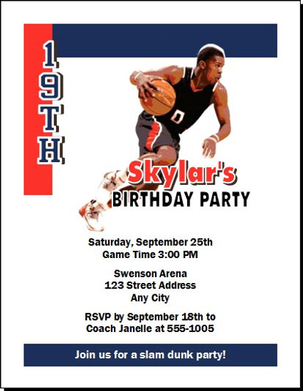 Atlanta Hawks Colored Basketball Party Invitation