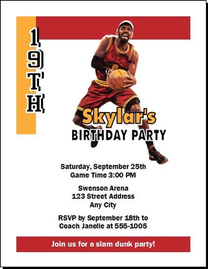 Cleveland Cavaliers Colored Basketball Party Invitation