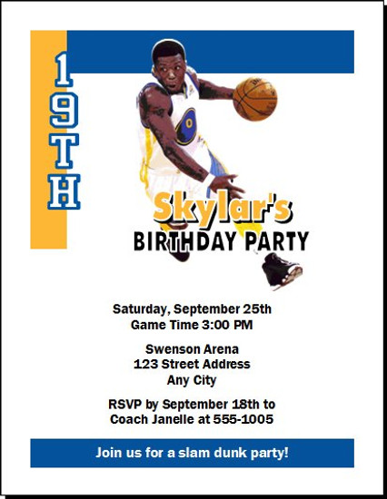 Golden State Warriors Colored Basketball Party Invitation