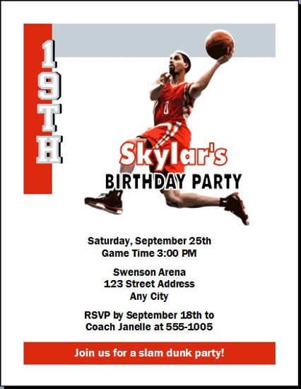 Houston Rockets Colored Basketball Party Invitation