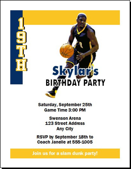 Indiana Pacers Colored Basketball Party Invitation