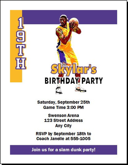 LA Lakers Colored Basketball Party Invitation