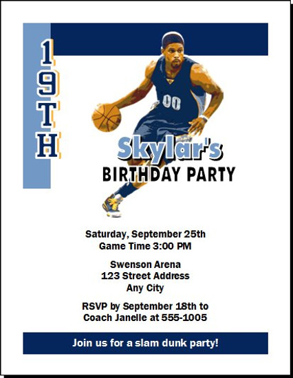 Memphis Grizzlies Colored Basketball Party Invitation