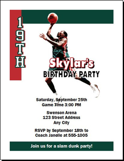 Milwaukee Bucks Colored Basketball Party Invitation